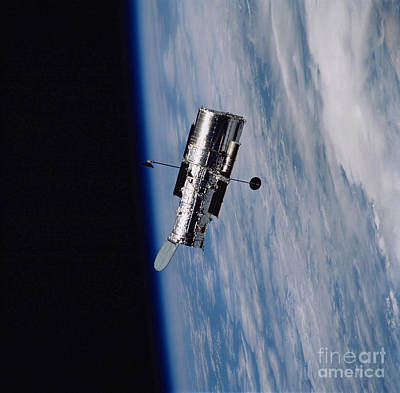 Hubble Space Telescope Backdropped Art Print