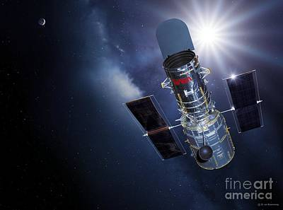 Digital Art - Hubble Space Telescope by Detlev Van Ravenswaay and Photo Researchers