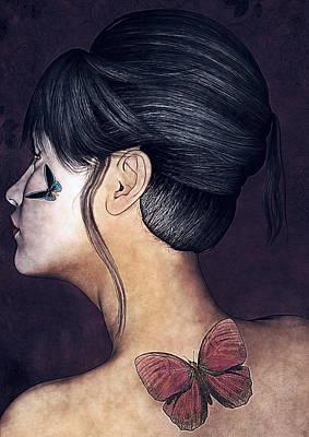 Geisha Digital Painting - Hudie Geisha by Maynard Ellis