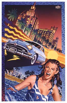 Hudson Hornet On Miami Nights Original by Garth Glazier
