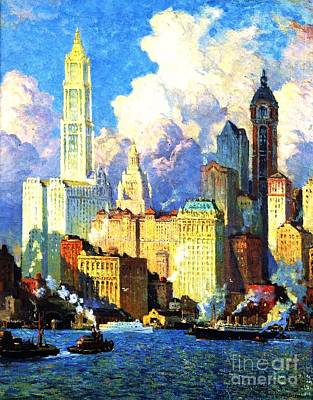 Painting - Hudson River Waterfront by Pg Reproductions