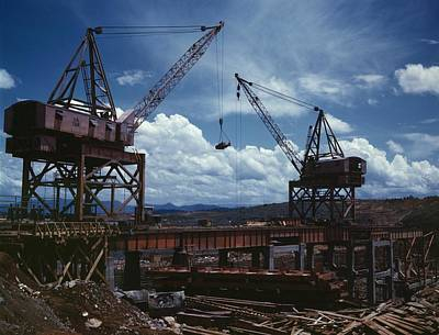 Huge Cranes Lift Steel Beams Art Print by Everett