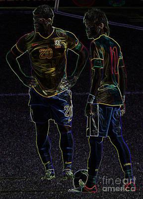 Hulk And Neymar Neon II Print by Lee Dos Santos