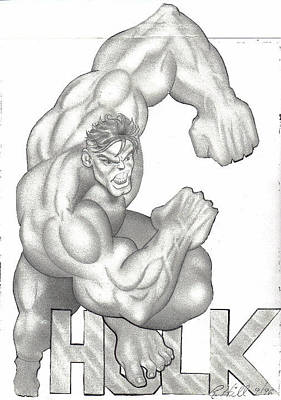 T-shirt Designs Drawing - Hulk by Rick Hill