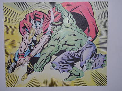 Thor Drawing Drawing - Hulk Vs Thor by Tom Russick