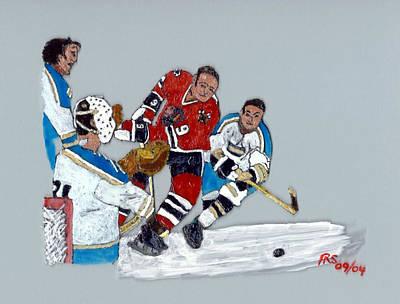 Ice Hockey Painting - Hull Deflected by Phil Strang