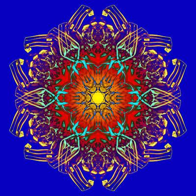 Vivid Colour Digital Art - Humandala 1 by David Kleinsasser
