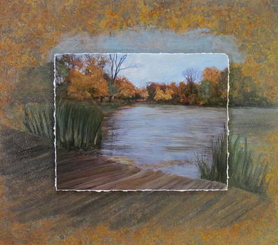Mixed Media - Humboldt Park Dock Layered by Anita Burgermeister