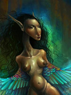Nude Digital Art - Humming Woman by Caroline Jamhour