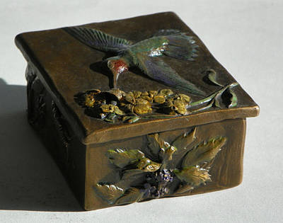 Treasure Box Sculpture - Hummingbird Box With Painted Patina - Wild Mint Side by Dawn Senior-Trask