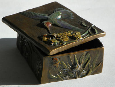 Treasure Box Sculpture - Hummingbird Box With Painted Patina - Y Bug Side by Dawn Senior-Trask