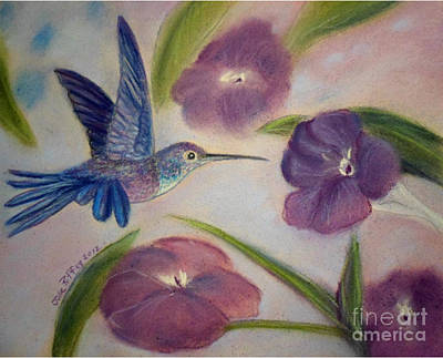 Pastel - Hummingbird In Purple Flowers by Julie Brugh Riffey