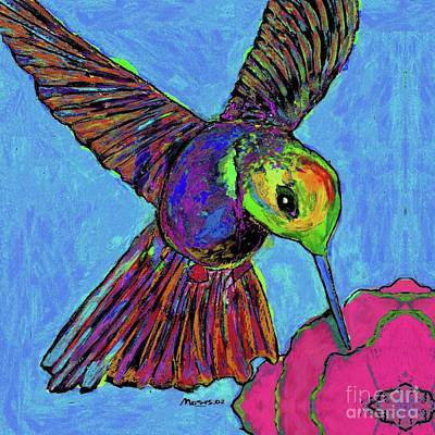 Hummingbird On Blue Art Print
