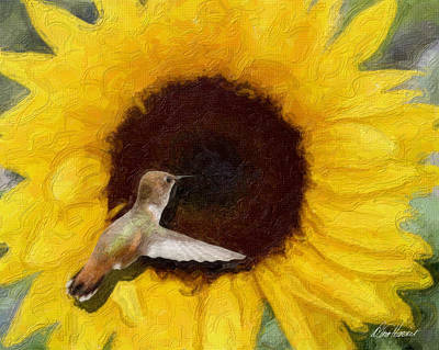 Photograph - Hummingbird On Sunflower by Diana Haronis