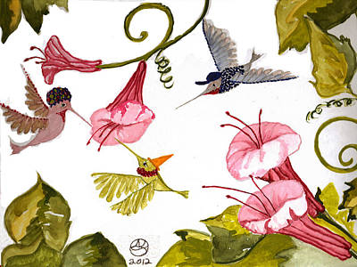 Lady Who Loves Birds Painting - Hummingbird Party by Alexandra  Sanders