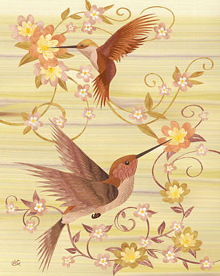 Marquetry Mixed Media - Hummingbirds - Wood Art by Vincent Doan