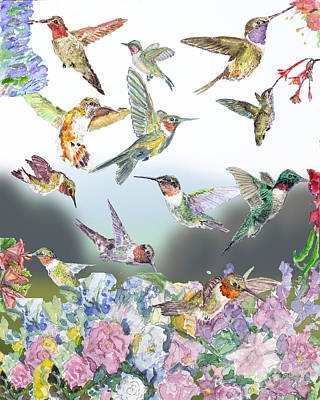 Watercolor Painting - Hummingbirds Galore by Barry Jones