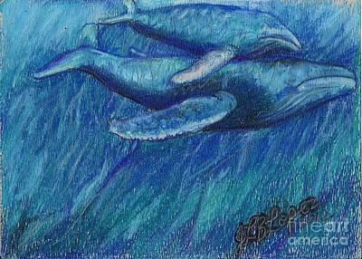 Humpback Whale Mother And Calf Print by Jamey Balester