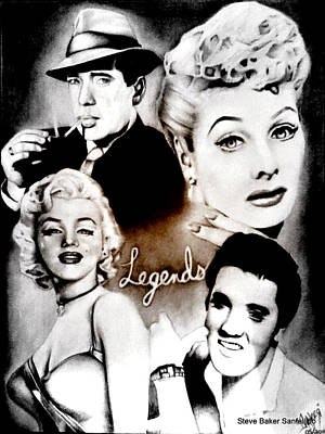 1950 Movies Drawing - Humphrey Bogart Lucille Ball Marilyn Monroe And Elvis Presley by Steve Baker Sanfellipo