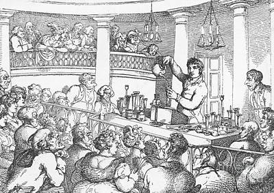 Gas Lamp Photograph - Humphrey Davy Lecturing, 1809 by Science Source