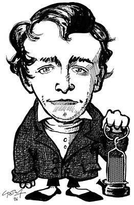 Gas Lamp Photograph - Humphry Davy, Caricature by Gary Brown