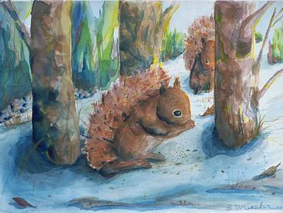 Hungry Red Squirrels Art Print by Barbara McGeachen