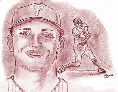 Print featuring the drawing Hunter Pence by Chris  DelVecchio