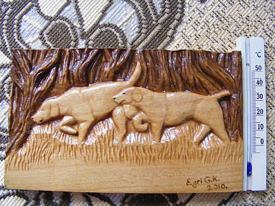 Hunting Dogs-wood Carving Relief And Pyrography Original