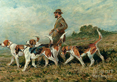 Dog Walking Painting - Hunting Exercise by John Emms