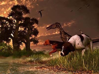 Velociraptor Digital Art - Hunting In The Age Gene Splicing by Daniel Eskridge