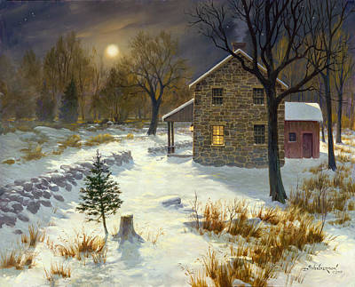 Snowy Night Painting - Hunting In The Woods At Night by David Henderson