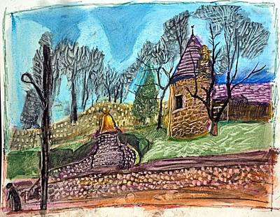 Cemetary Drawing - Huntington Cemetary by Don Schaeffer