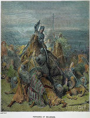 Drawing - Hunyadi At Belgrade by Gustave Dore