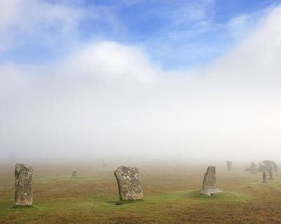Bodmin Photograph - Hurlers Stone Circle In The Mist; Bodmin Moor by Laurie Noble