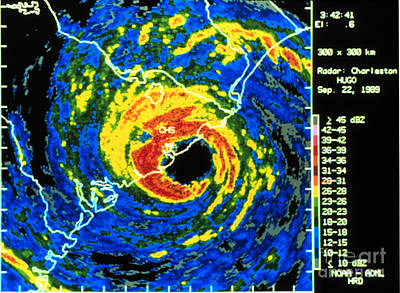 3-57 Photograph - Hurricane Hugo, Digitized Radar Image by Science Source