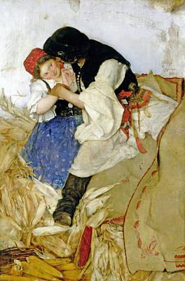 Corn Painting - Husking Corn by Simon Hollosy