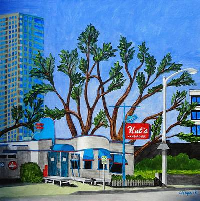 Painting - Hut's Hamburgers Austin Texas. 2012 by Manny Chapa