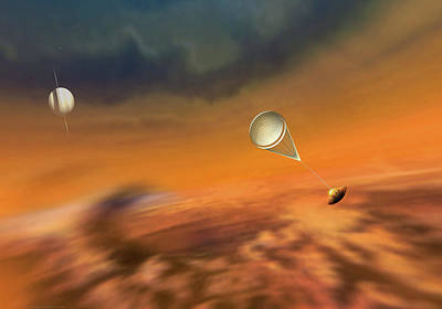 Saturn Painting - Huygens Probe Lands On Titan by Don Dixon