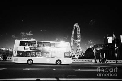 Hybrid Electric London Red Double Decker Bus Public Transport Crossing Westminster Bridge England Print by Joe Fox