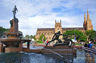 Hyde Park Fountain And St. Mary's Cathedral Art Print by Kaye Menner