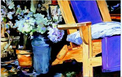 Painting - Hydrangeas And Adriondack Chair by Pauline Hauder