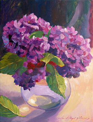 Glass Top Tables Painting - Hydrangeas Glass Bowl by David Lloyd Glover