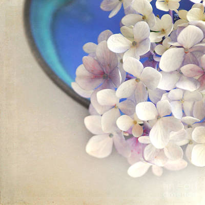 Hydrangeas In Blue Bowl Art Print by Lyn Randle