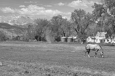 Longs Peak Photograph - Hygiene Colorado Boulder County Scenic View Bw by James BO  Insogna