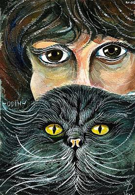 Hypnotic Drawing - Hypnotic Cat Eyes by Ion vincent DAnu
