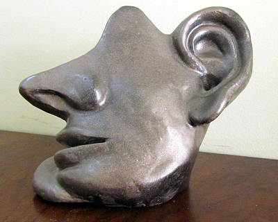 Sculpture - I Am All Ears Head Face With Ears Only Large Nose No Eyes Huge Ears by Rachel Hershkovitz