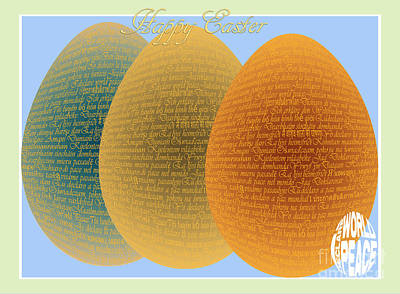 Passover Digital Art - I Declare World Peace - Decorative Eggs Easter Card by RC Gelber