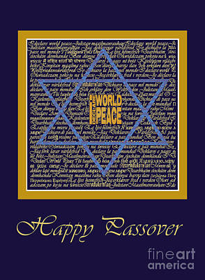 Passover Digital Art - I Declare World Peace Blue Passover Card. by RC Gelber
