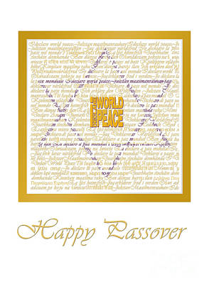 Passover Digital Art - I Declare World Peace Passover Card In White And Gold by RC Gelber