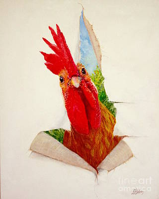 Rooster Painting - I Had A Breakthrough by Greg and Linda Halom